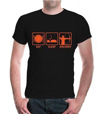 Uomo Unisex A Maniche Corte T-shirt Eat Sleep Archery Arco Sparare Proverbi Regalo-
