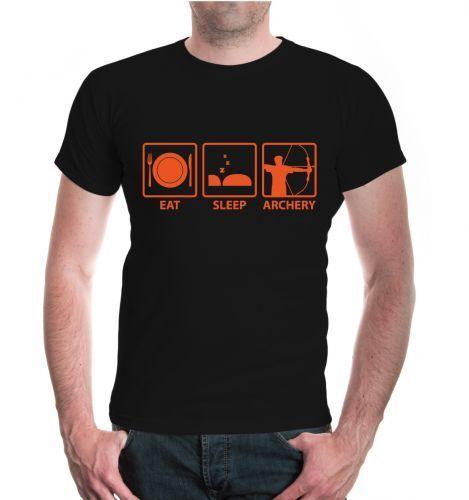 Herren Unisex Kurzarm T-Shirt Eat Sleep Archery Bogenschießen Sprüche Geschenk