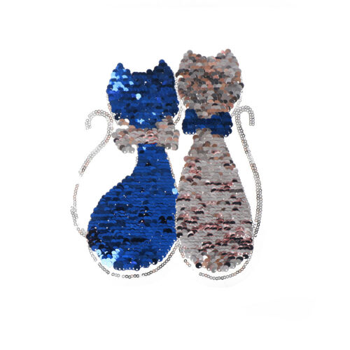 Sequins Lover Cat Patches on T-shirt Garment Sequined Applique Crafts WG