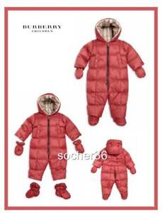 4f3ee8908 Image is loading BURBERRY-INFANT-SKYLAR-DOWN-HOODED-SNOWSUIT-PEONY-ROSE-