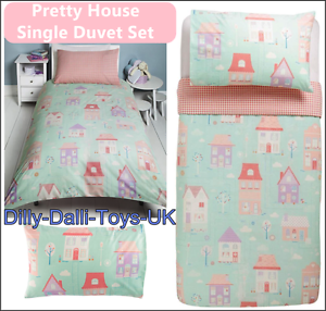 Pretty House Single Duvet Cover Bed Set Girls 50 Cotton Pastel Pink