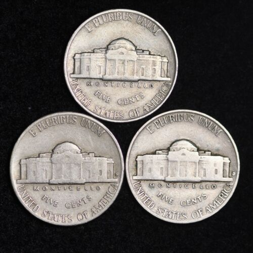 VG FREE SHIPPING 3 Coin Lot Nice GOOD 1939 P D S Jefferson Nickel Set