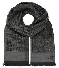 Versace Collection Men's Charcoal Gray Black Medusa Geometric 100% Wool Scarf