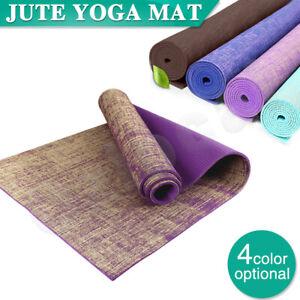 Premium Natural Linen Jute Yoga Mat Eco Friendly Exercise Fitness Gym Pilates AU