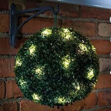 28CM SOLAR POWERED TOPIARY GARDEN BALL WITH 20 LED LIGHTS DUAL FUNCTION STATIC