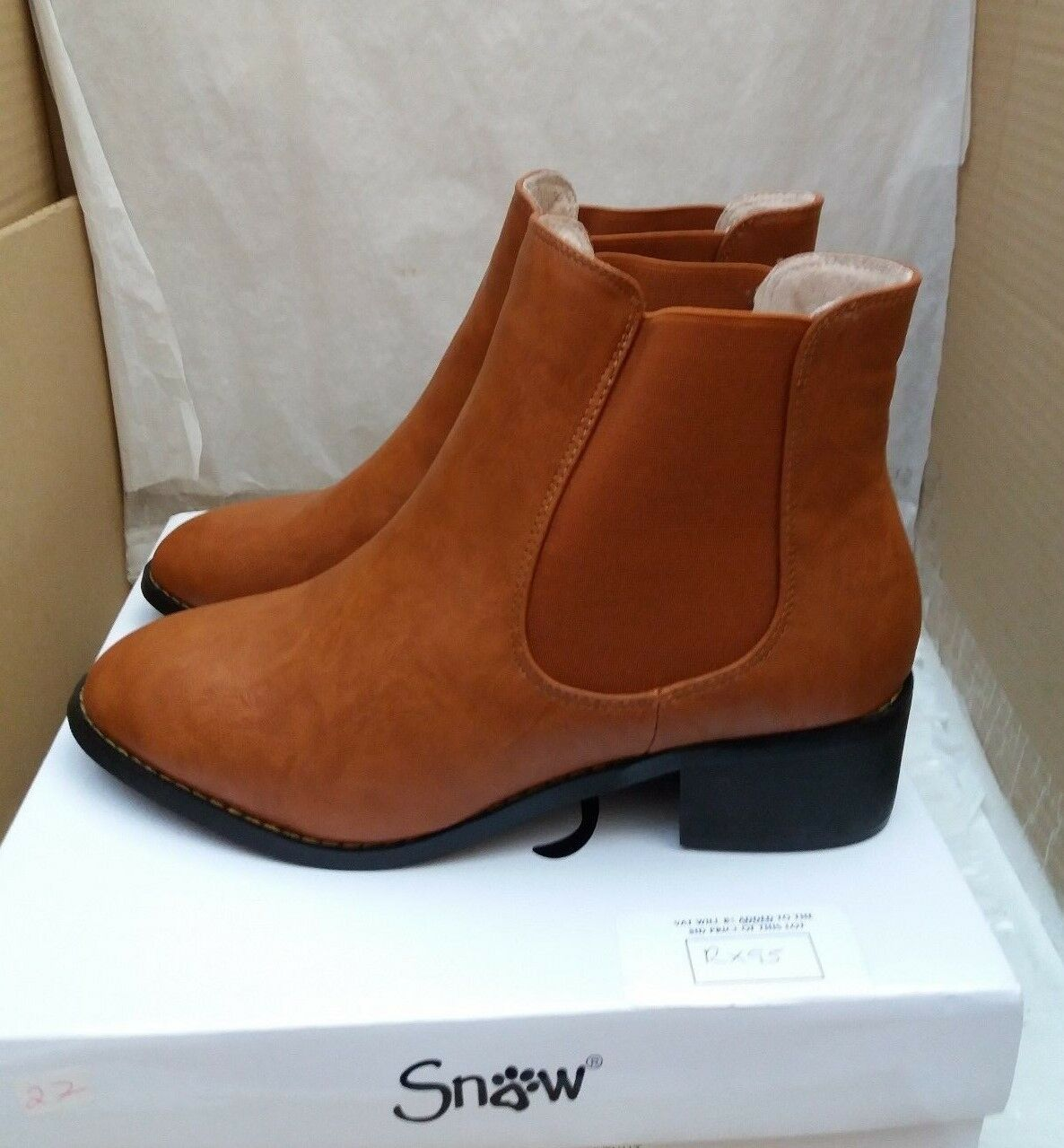 Snow Paw Ladies Chestnut Leather Chelsea Ankle Boots- 5945 - UK 7