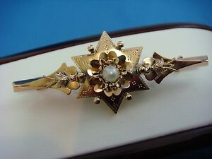 !VICTORIAN 14K ROSE GOLD BROOCH/PIN WITH GENUINE PEARL, 4.2 GRAMS, CIRCA 1900s