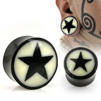 PAIR Horn Star Plugs w/Bone Inlay Earlets Gauges Body Jewelry