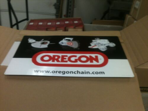 """15/"""" X 25/"""" NEW OREGON CHAINSAW CHAIN EMBOSSED ALUMINUM  SIGN APPROX"""