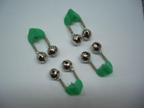 4 Angelglöckchen Signalglöckchen mit grüner Klemme und Knicklichthalter