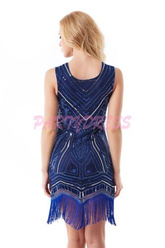 OP 1006 Ladies Costume Fancy Dress 20s Flapper Gatsby Gangster Blue Sequin 6-14