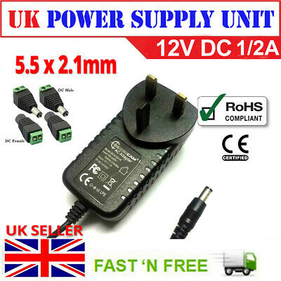12V 1A 2A AC//DC UK Power Supply Adapter Safety Charger For LED Strip CCTV Camera