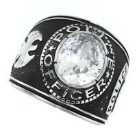 Clear Stone Police Officer Silver Stainless Steel Mens Ring