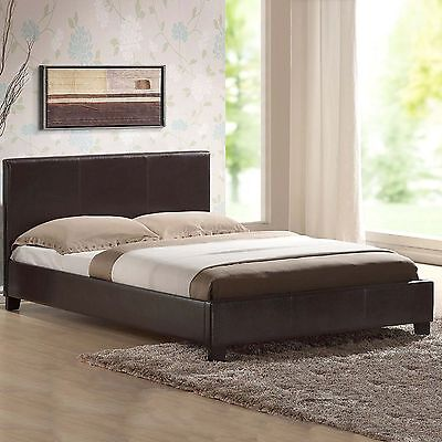 LEATHER BEDSINGLE SMALLDOUBLE  BLACK-BROWN With MEMORY FOAM ORTHOPAEDIC MATTRESS