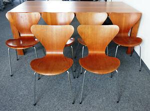 Details zu 6x Arne Jacobsen Stuhl 7 Teak Modell 3107 Fritz Hansen Original  60er Jahre