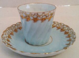 Set-Of-Five-Vintage-Pale-Blue-Gold-Trim-Vienna-China-Demitasse-Cups-And-Saucers
