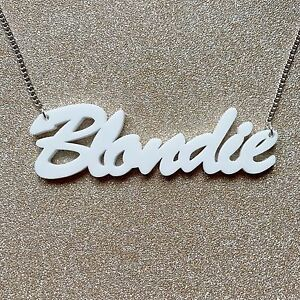 Blondie-White-Word-Letter-Charm-Pendant-Kitsch-Chain-Necklace-Choochie-Choo