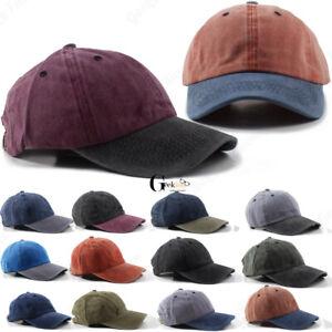 New-Men-Women-Cotton-Plain-Adjustable-Wash-Style-Polo-Baseball-Hat-Cap-Dad