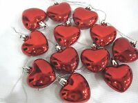 Valentines Day Shiny Red Hearts 2 Ornaments Decorations Set Of 12