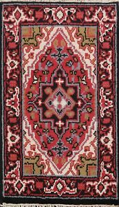Geometric-Indo-Heriz-Hand-knotted-Oriental-Area-Rug-Traditional-Foyer-Carpet-2x3