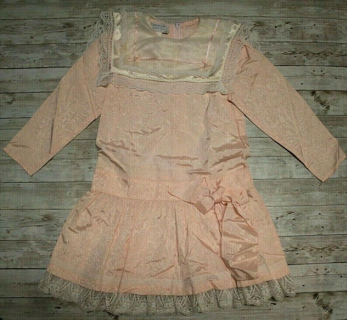 Vtg Gunne Sax Jessica McClintock girls 5 Pink Taf… - image 1