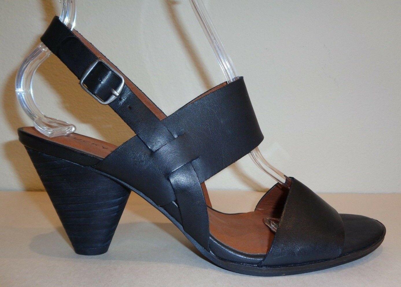 Lucky Brand M veneesha vestido de cuero negro Tacones Sandalias nuevo Zapatos para mujer
