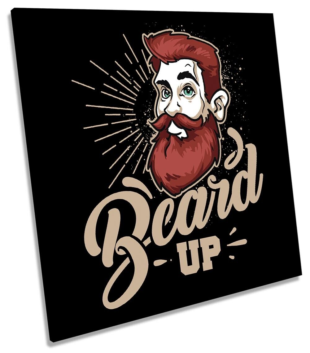Beard Up Man Cave Picture CANVAS WALL ART Square Print
