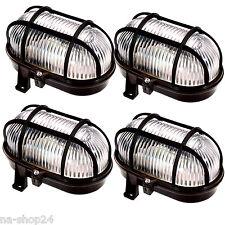 4x Ovalleuchte EEK A++ IP44 SCHWARZ Wandleuchte Deckenleuchte Kellerlampe Lampe