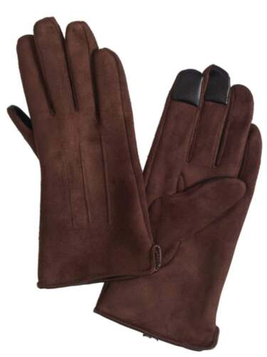 Womens Brown Suede-look Text /& Tech Gloves Touch Screen Compatible