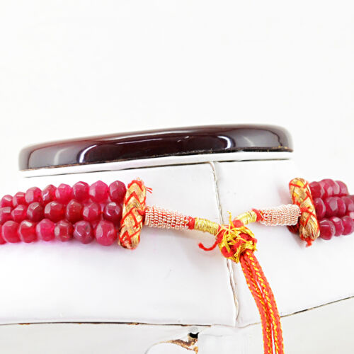 459.00 Cts Earth Mined 3 Strand Red Ruby Round Shape Faceted Beads Necklace