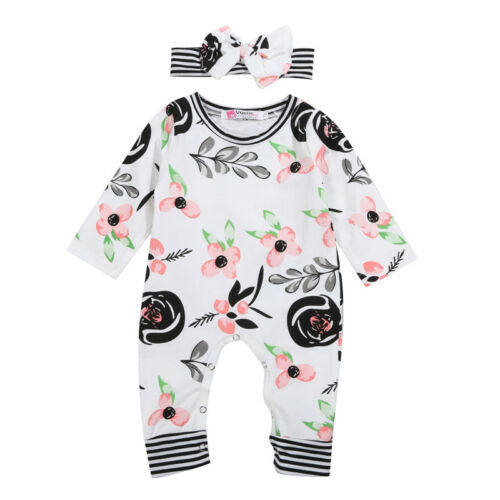 Boutique Newborn Baby Girls Flowers Romper Jumpsuit Headband Outfits Clothes USA