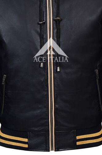 Men/'s Baseball Hooded Black Leather Jacket Slim Fit Stylish 100/% LEATHER 4486