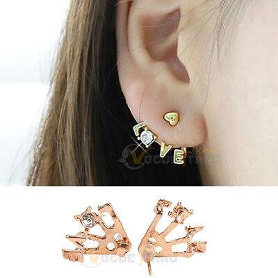 Korean Style Gold Plated Clear Rhinestone Heart Love Letter Ear Stud Earrings