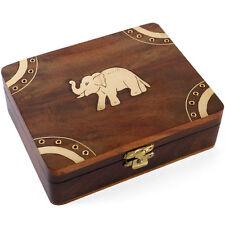 Handmade Indian Wooden Lucky Elephant Trinket Jewel Box ~,with Brass  ~uk seller