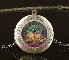 Tree Of Life Cabochon Glass Brass Chain Locket Pendant Necklace#A10