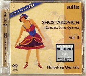 AUDITE-Hybrid-SACD-amp-DVD-GERMANY-Shostakovich-MANDERLING-QUARTET-Vol-II-92-527