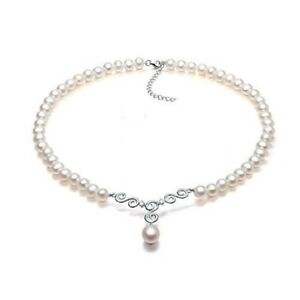 Sterling-Silver-Pearl-Necklace-7mm-Freshwater-Cultured-Pearl-with-Pearl-Pendant