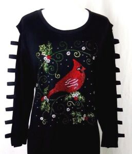 PLUS-2X-Tunic-Top-Hand-Embellished-Rhinestone-Christmas-Cardinal-Bird-Holly