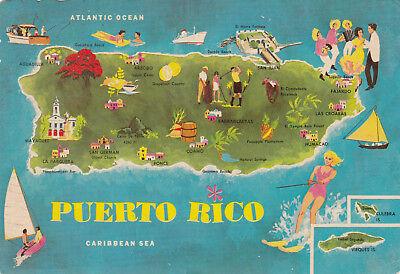 Flag Beach Cannon etc Postcard Caribbean Island San Juan Map of Puerto Rico