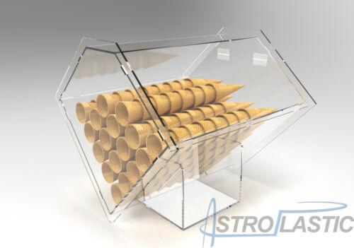Contenitore espositore porta coni gelato da banco in plexiglas trasparente