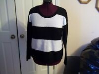 Ana Ladies Size L Sweater Black/white Stripe Long Sleeves Loose Woven Sweater