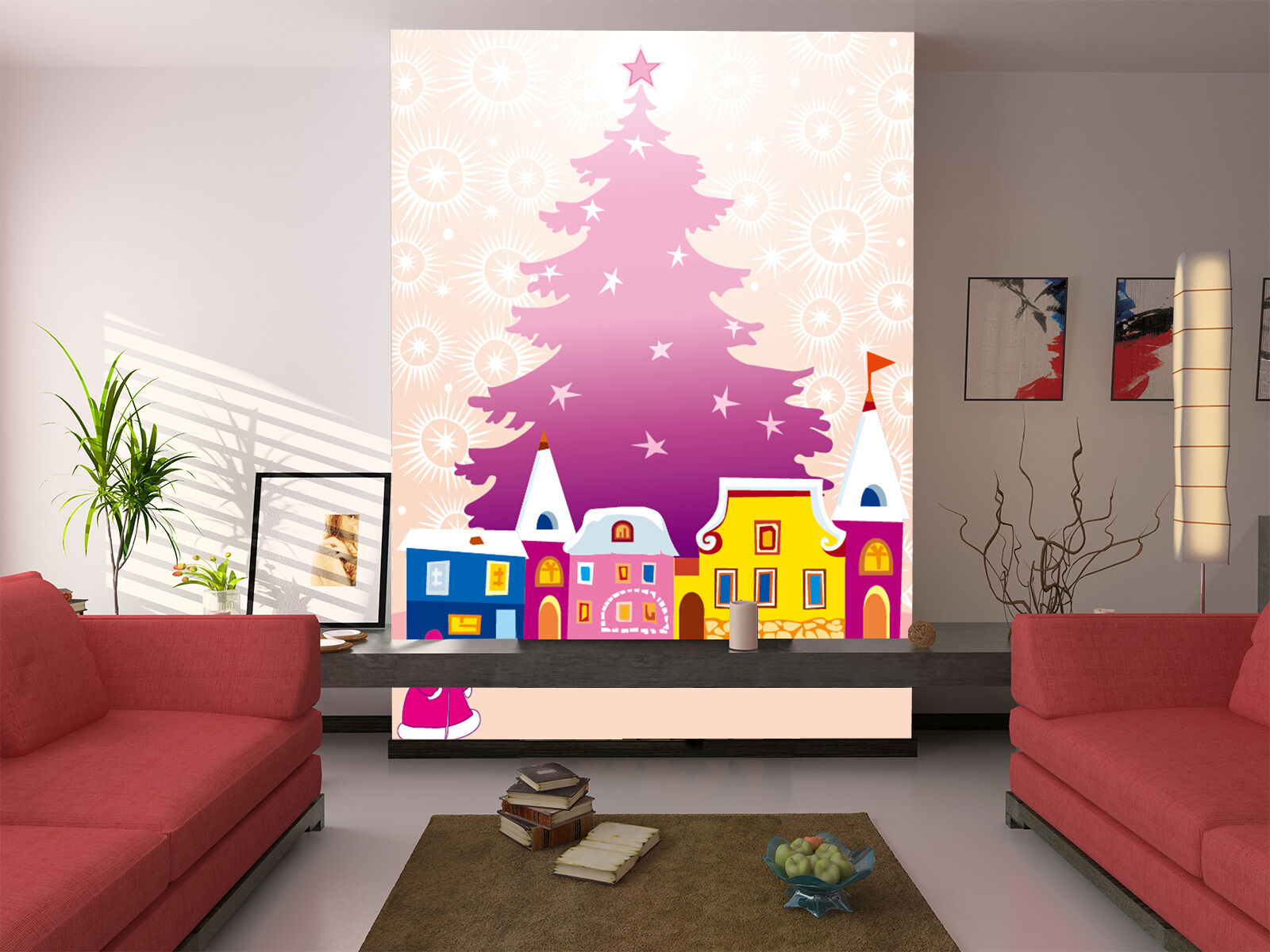 3D Pruple Christmas Tree 554 Wall Paper Wall Print Decal Wall Deco Indoor Wall