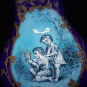 Ancien Limoges Émail Vase Peint à La Main Enfants Français Peint Émail (1918) éLéGant En Odeur