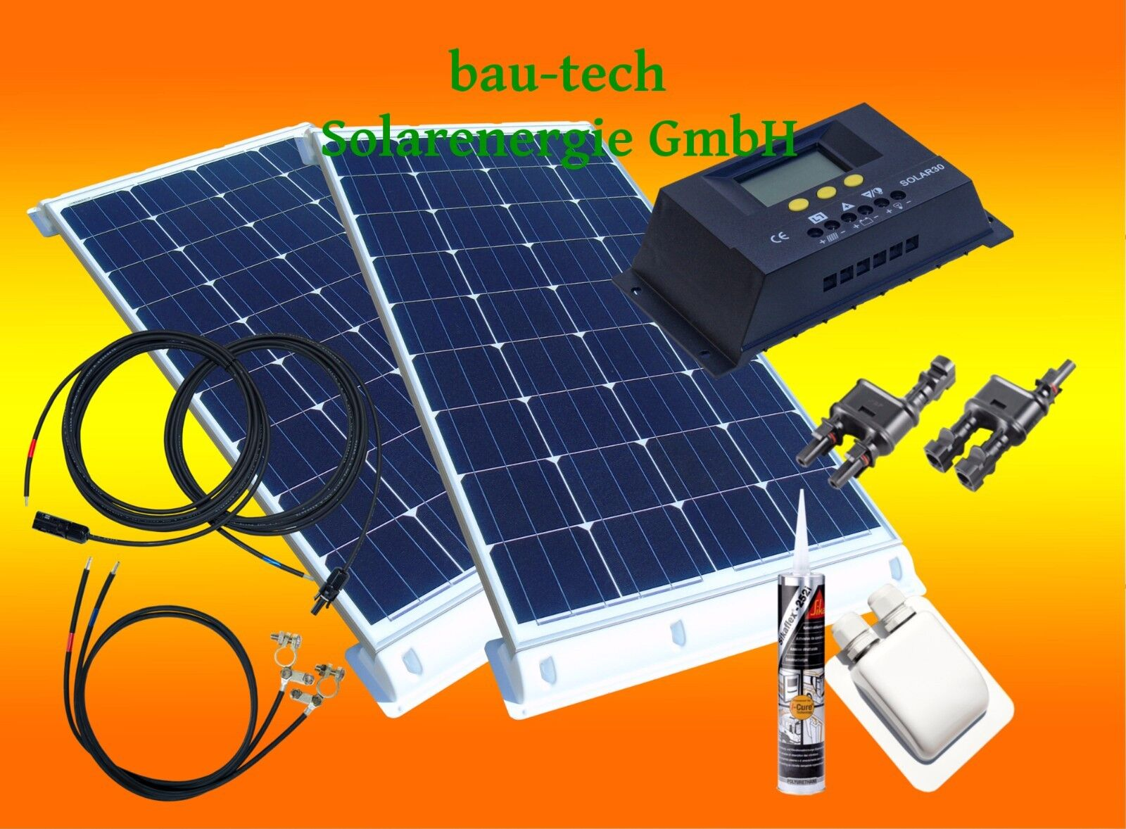 200 Watt Solarmodul Wohnmobil Solaranlage 12 Volt Set 30 Ampere Laderegler