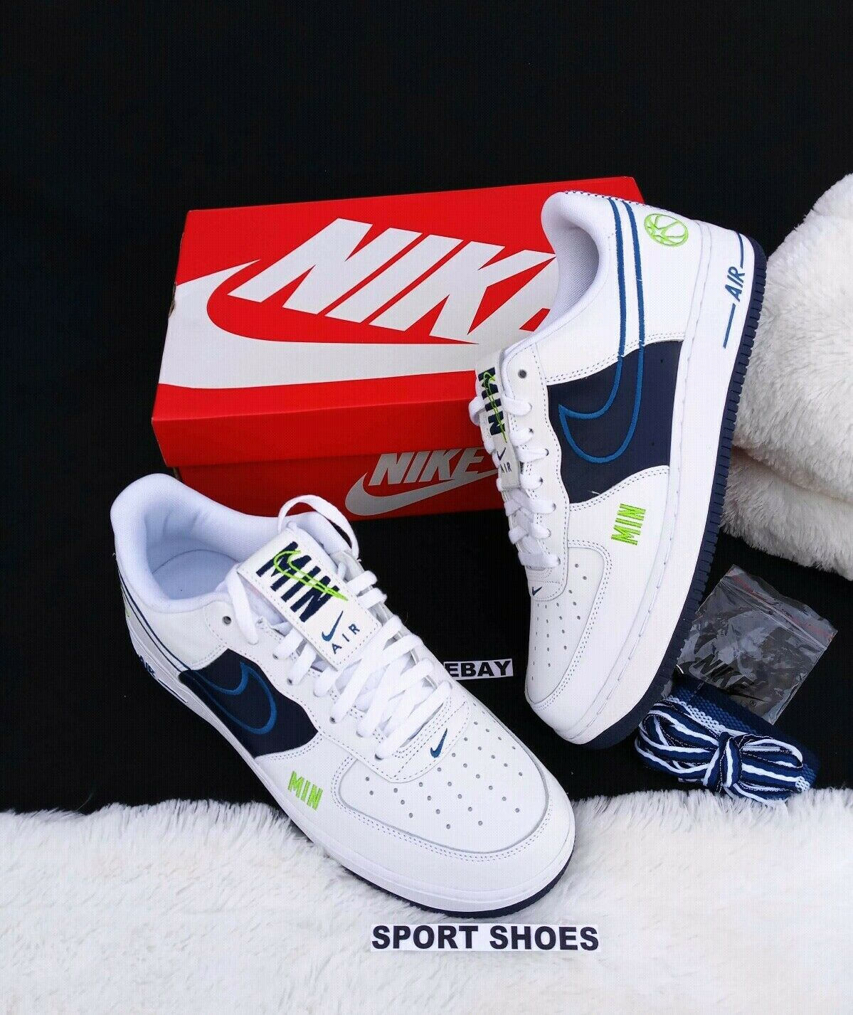 11.5 MEN'S NIKE AIR FORCE MIN 1 AF1 LOW RETRO WHITE NAVY SNEAKERS AQ4002 993