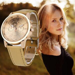 Mujer-Damas-Moda-Numeros-Romanos-Imitacion-Cuero-Analogico-Cuarzo-Relojes-de-reloj