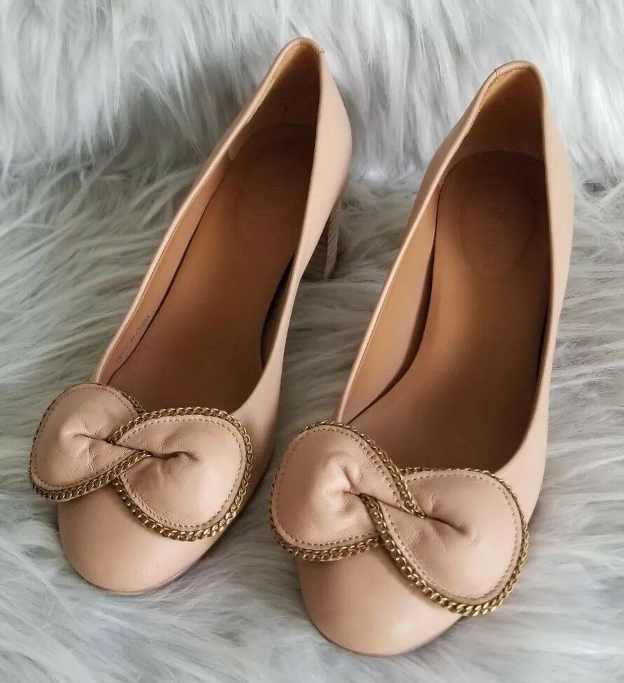 See By Chloé Bow Tie Nude Pumps Size 6 7