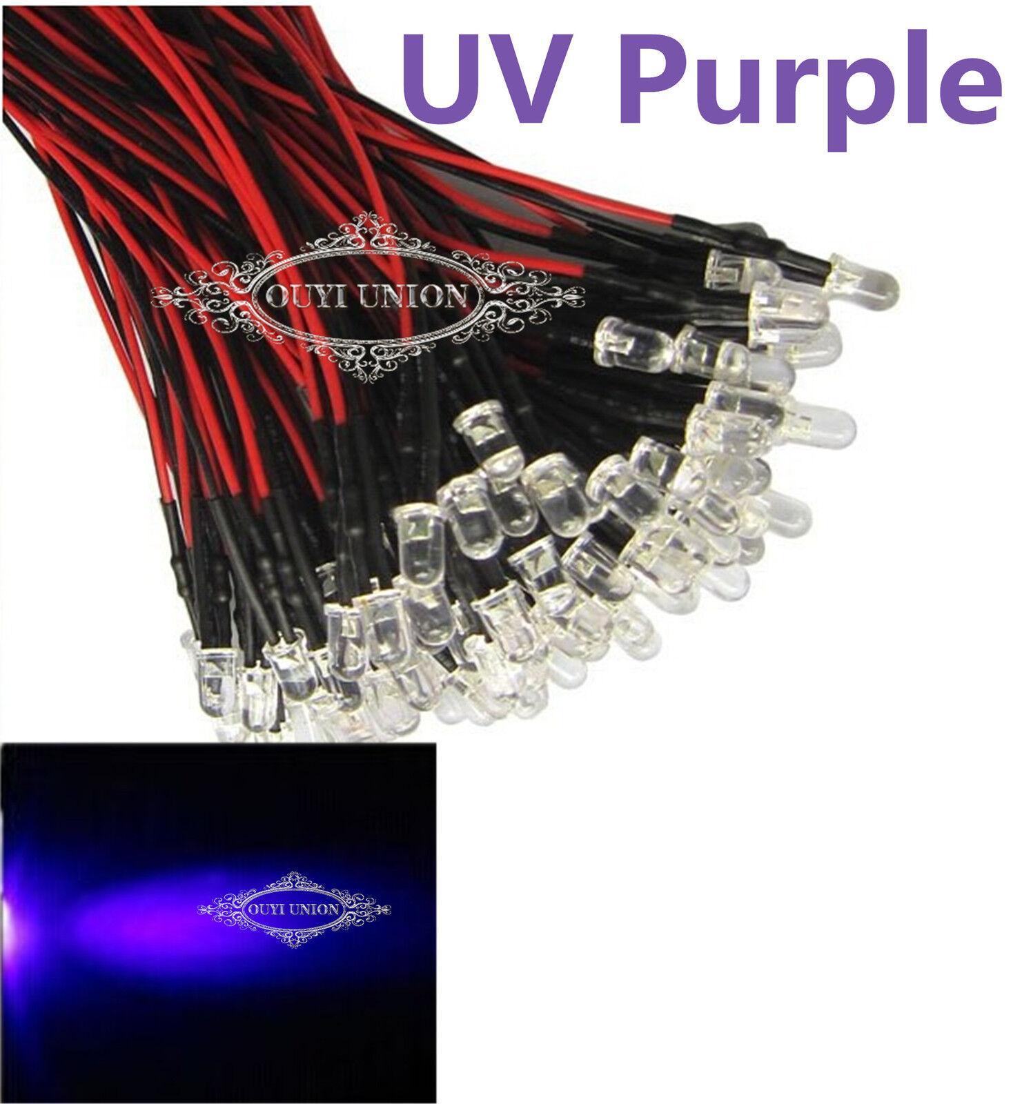 Bulk  Pre Wirot 10mm Bright UV lila LEDs Bulb 20cm Prewirot 12V LED Lamp  X200