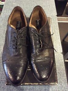 Kenneth-Cole-Men-039-s-Black-Wing-Tip-Shoe-Leather-Sz-11-M