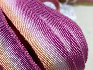 Vintage-Cotton-Rayon-5-8-034-Petersham-Ribbon-Apricot-amp-Plum-1yd-Made-in-France